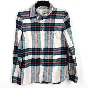 J. Crew Rock Salt Plaid Flannel Boy Shirt